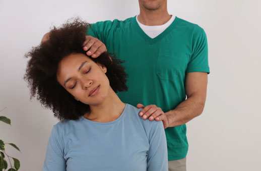 Women having neck stretched